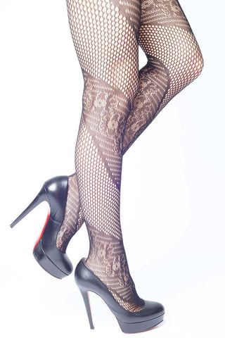 Contrasting Sides Fishnet Stockings
