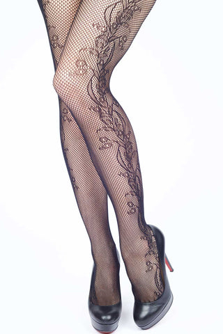 Racing Stripes Fishnet Stockings