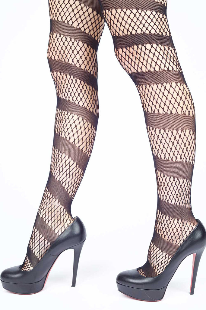 Endless Ribbon Adornment Fishnet Stockings