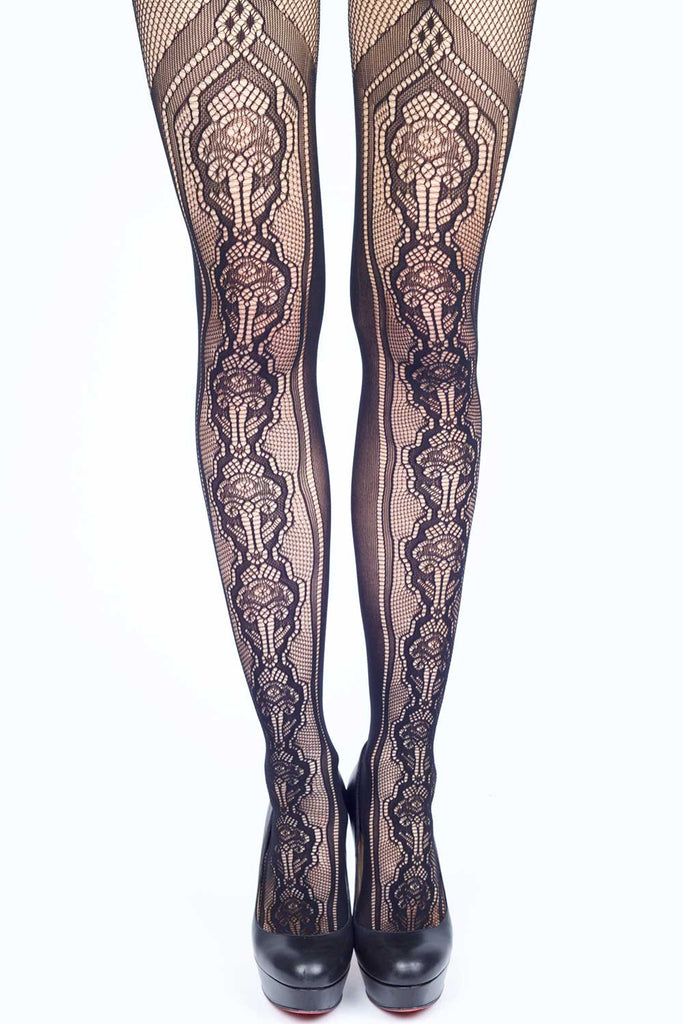 Stenciled Bouquet Fishnet Stockings
