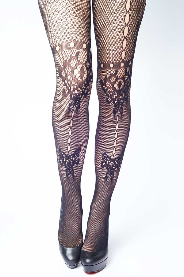 082d1b31e55 Butterfly   Floral Inkblot Fishnet Stockings
