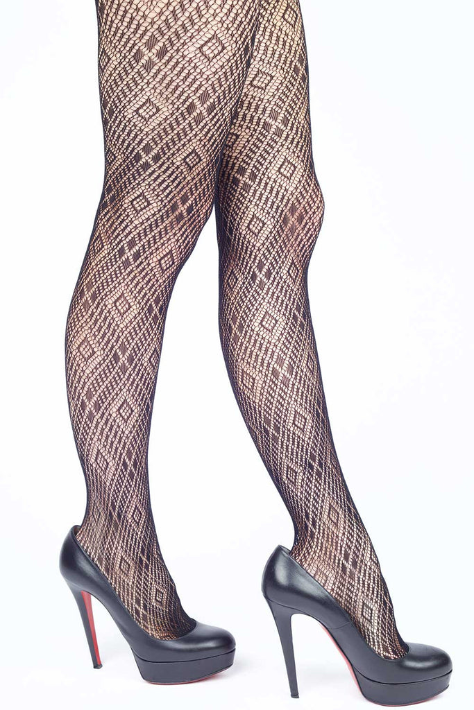Plaid Diamond Hologram Fishnet Stockings