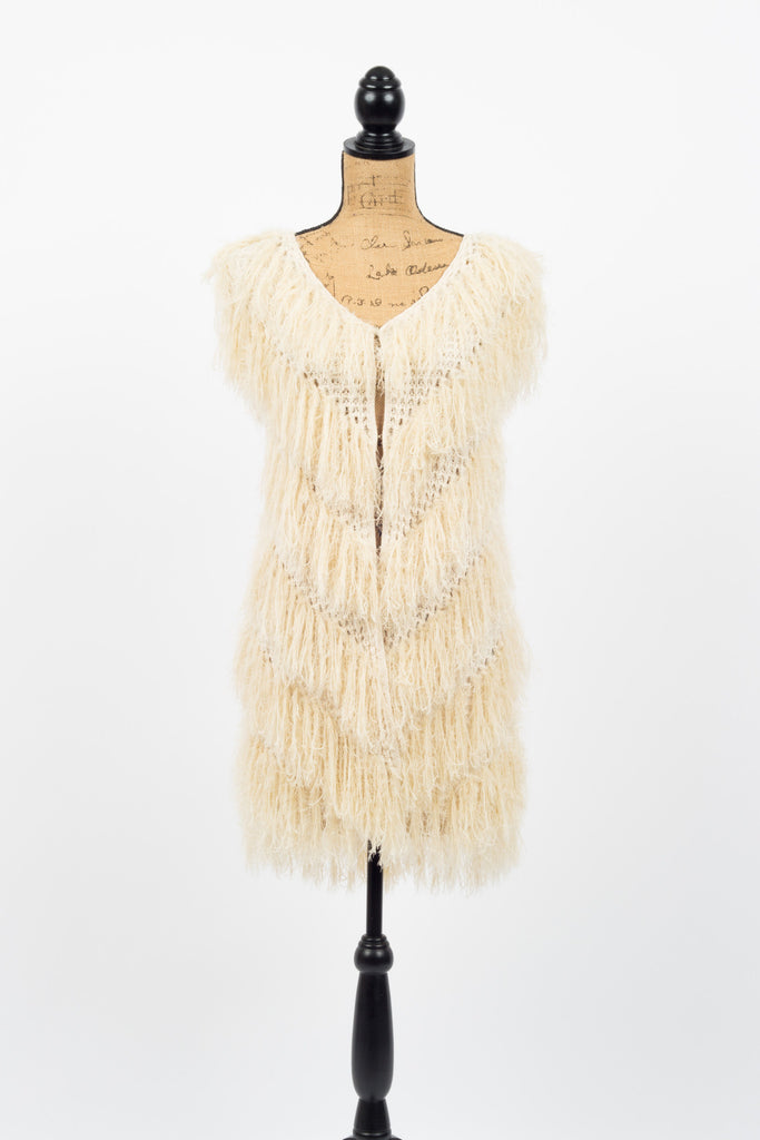 Sleeveless Cream Fur Vest