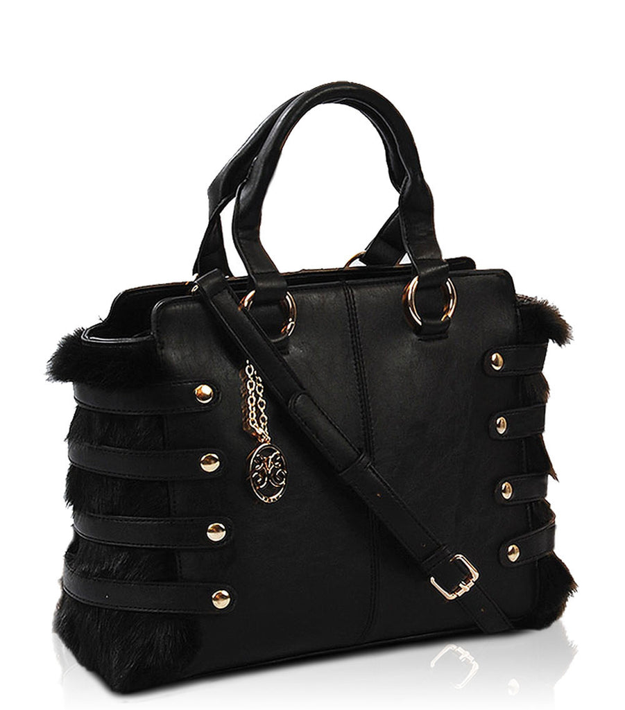 The Bella Noir Faux Fur Handbag