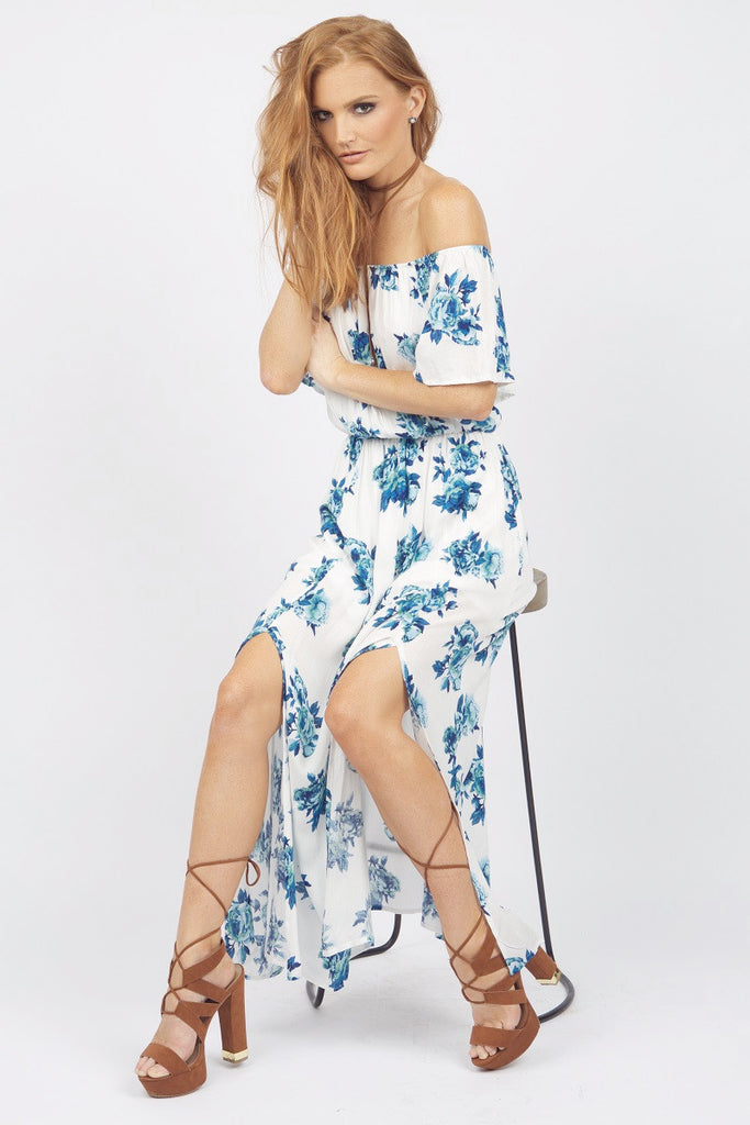 Kinsley Blue Floral Maxi Dress