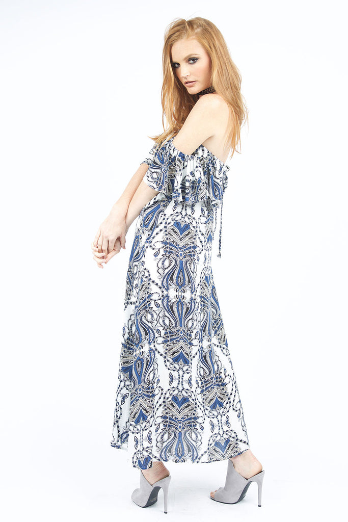 Shelby Blue Printed Maxi Dress