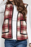 Stephanie Red Plaid Vest