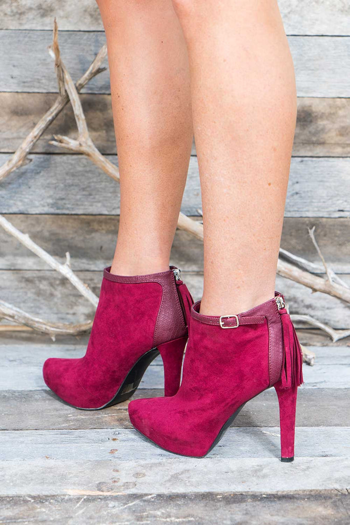 Rida Burgundy Booties