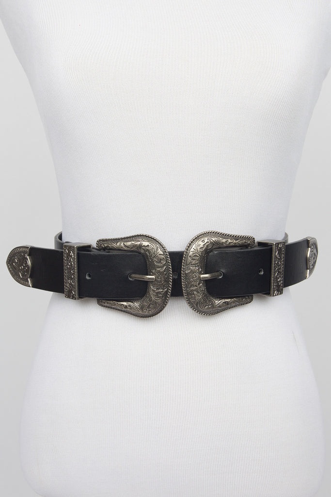 Kat Double Buckle Black Belt