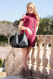 French Burgundy Cold Shoulder Dress