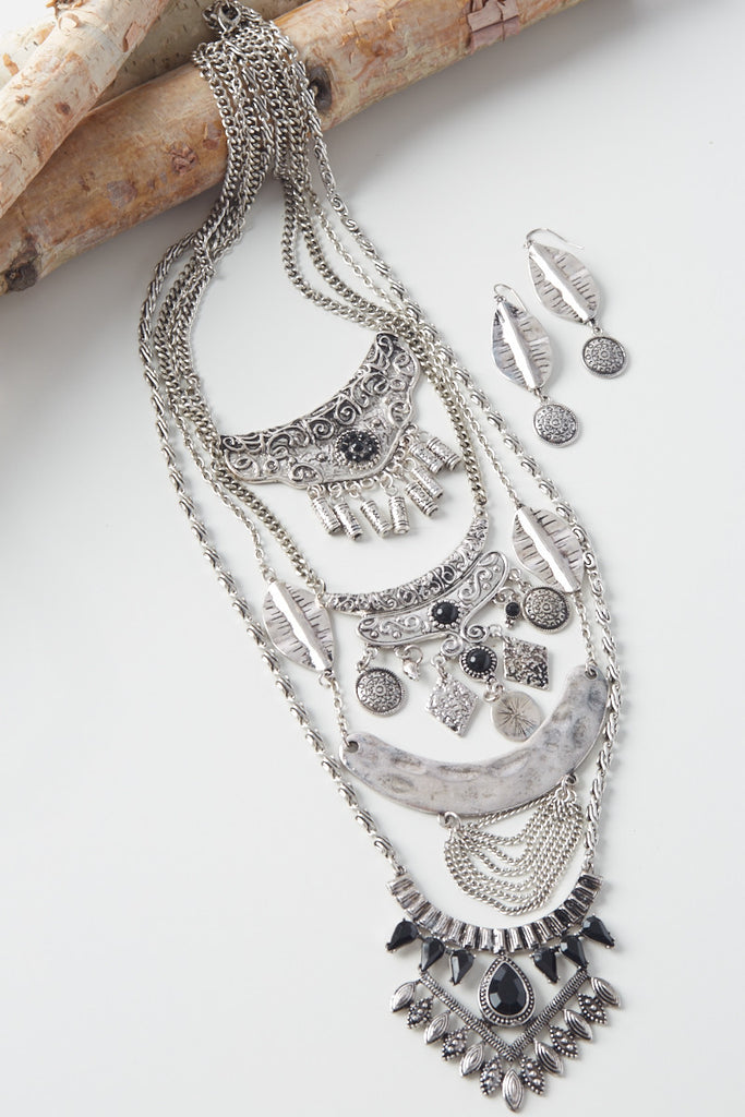 Silver Layered Tribal Necklace