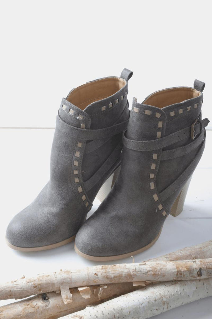 Nina Grey Heeled Booties