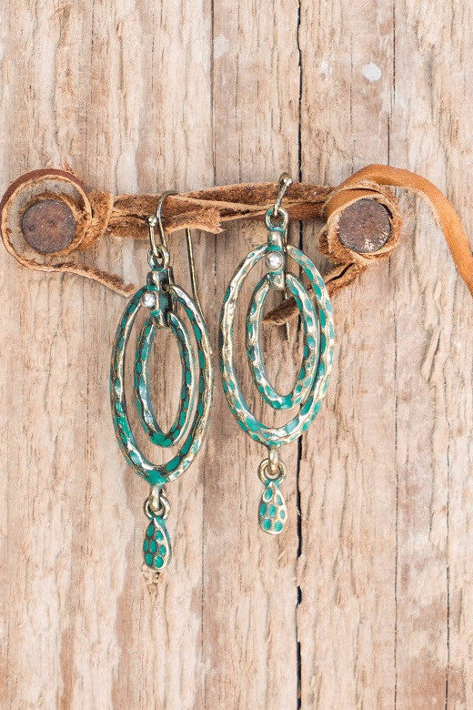 Gold Turquoise Hammered Texture Earrings