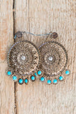 Turquoise Gold Mandala Earrings