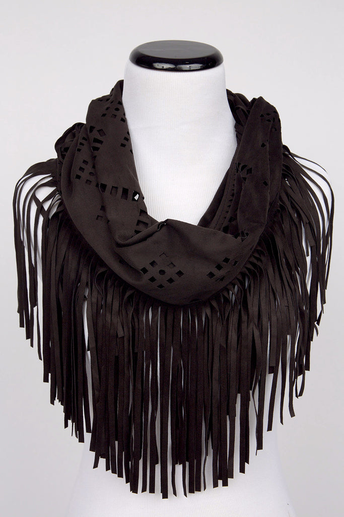Charcoal Grey Fringe Scarf