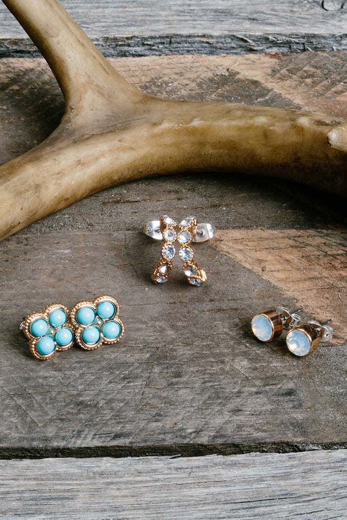 Gold Tone Turquoise Earring Trio