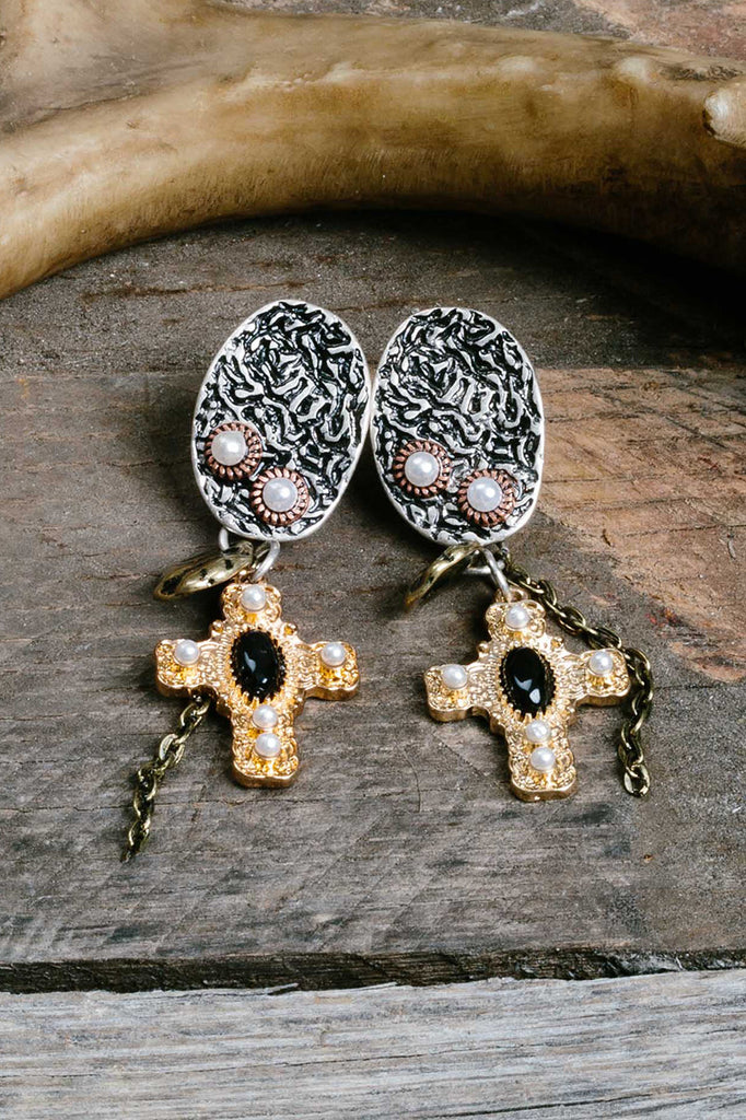 Mixed Metal Black Cross Pendant Earrings