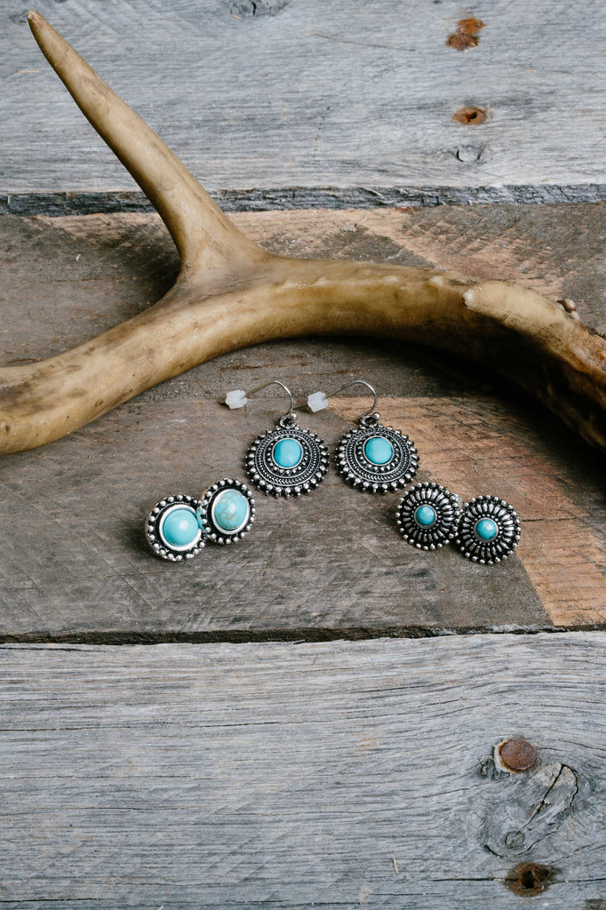 Silver Turquoise Stud Drop Earring Trio