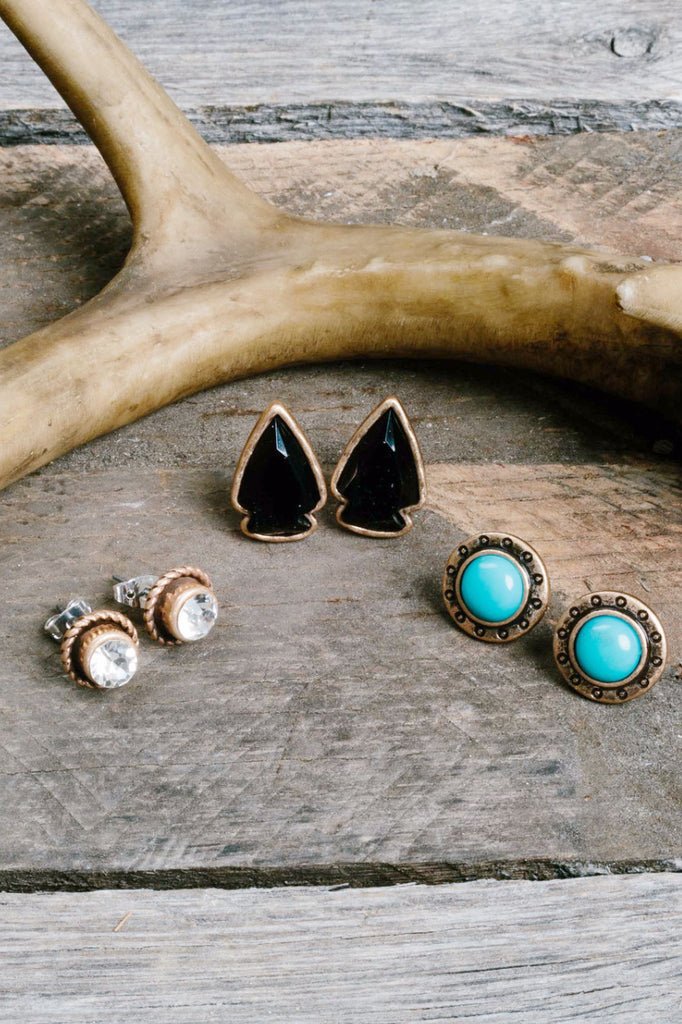 Native Arrow Gold Earring Trio