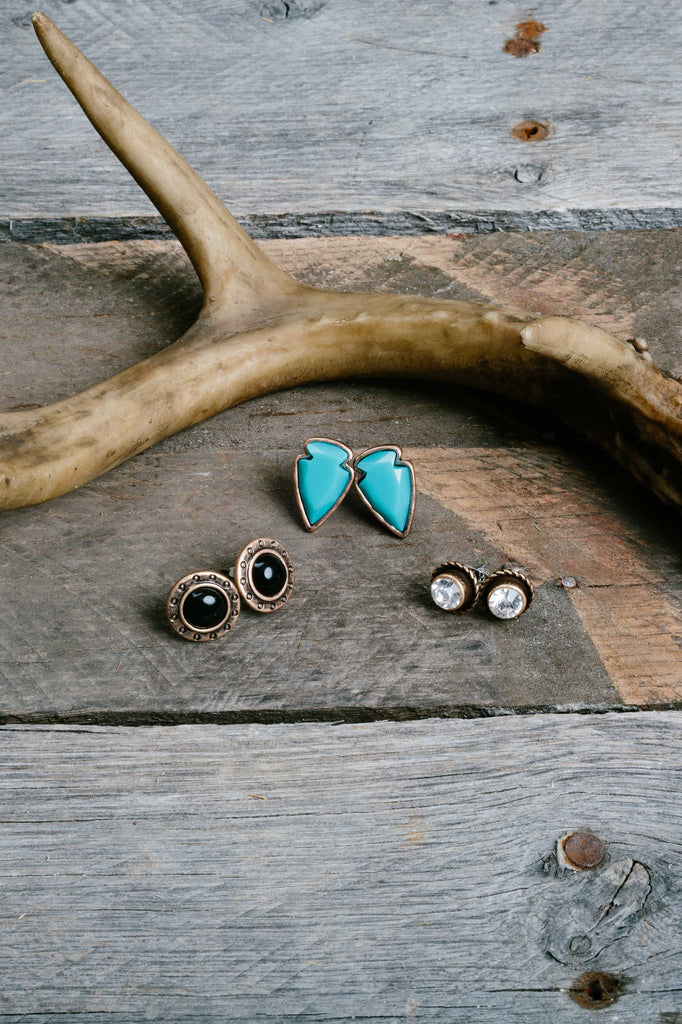 Turquoise Arrow Native Earring Trio