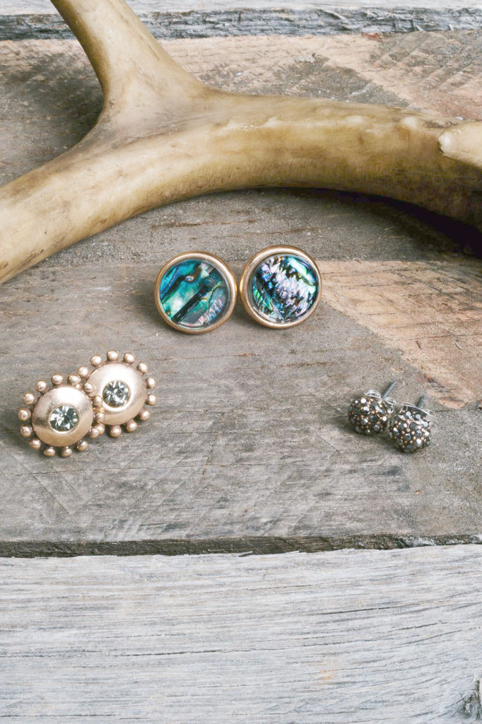Gold Stud Mosaic Earring Trio