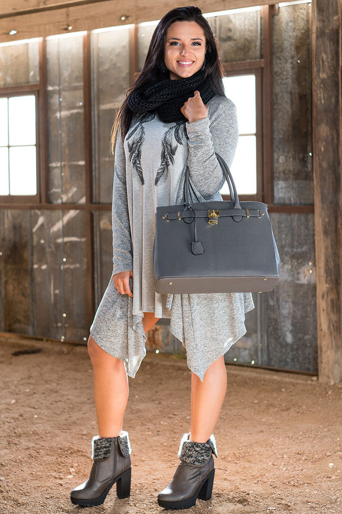 Shades of Grey Feather Dress