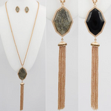 Reversible Stone Tassel Necklace