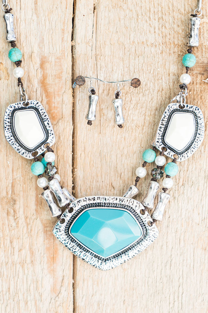 Silver Turquoise Southwestern Statement Necklace