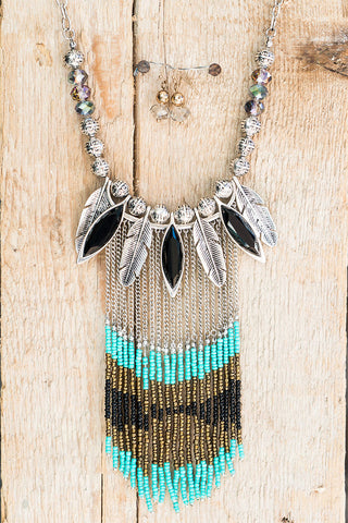 Blue and Diamond Statement Necklace Set