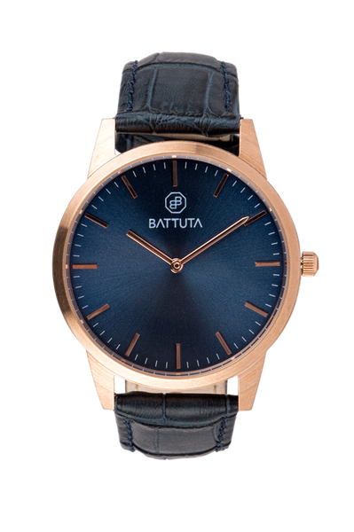 Rose Gold Case with Blue Dial - Battuta Watches
