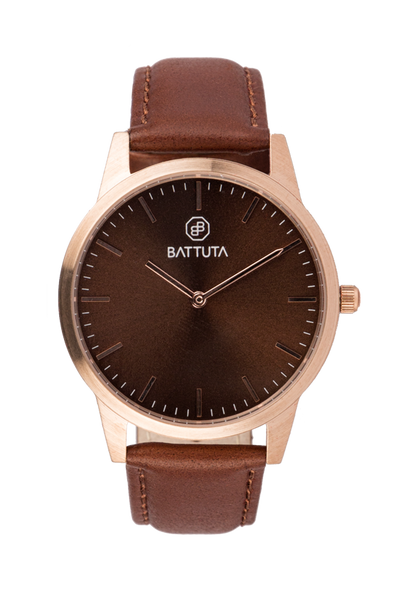 Rose Gold Case with Brown Dial - Battuta Watches