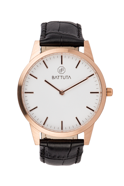 Rose Gold Case with White Dial - Battuta Watches