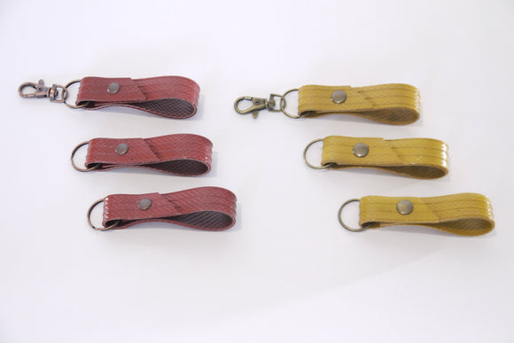 Recycled fire hose keyring