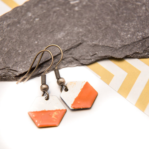 Hexagon Orange and White Enamel Earrings