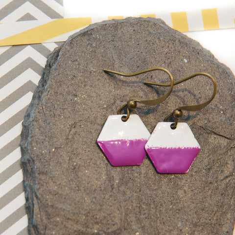 Hexagon Pink and White Enamel Earrings