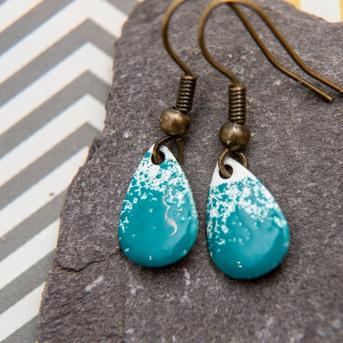 Teardrop Teal and White Earrings