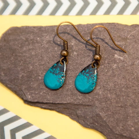 Teardrop Teal and Black Enamel Earrings