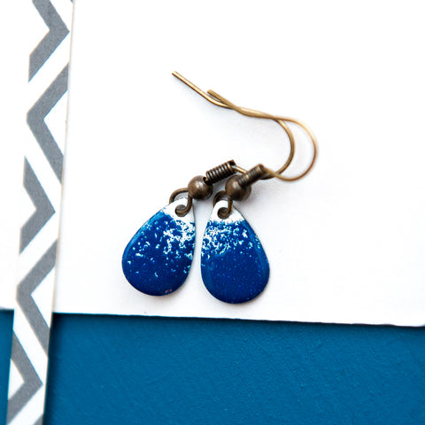 Teardrop Navy and White Enamel Earrings