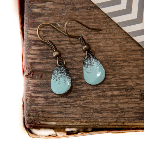 Teardrop Turquoise and Black Enamel Earrings
