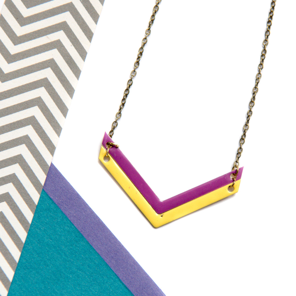 Double Chevron Pink and Yellow Necklace