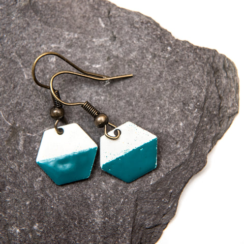 Hexagon Teal and White Enamel Earrings