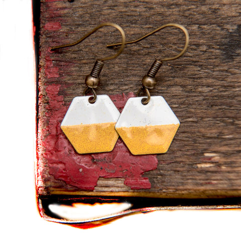 Hexagon Mustard and White Enamel Earrings