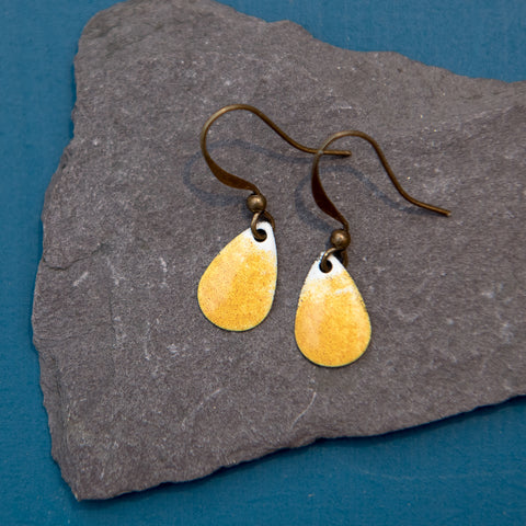 Teardrop Mustard Yellow and White Enamel Earrings