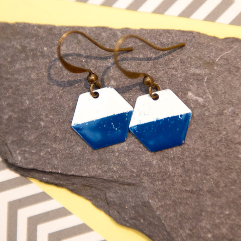Hexagon Navy and White Enamel Earrings