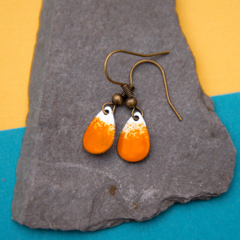 Teardrop Orange and White Enamel Earrings