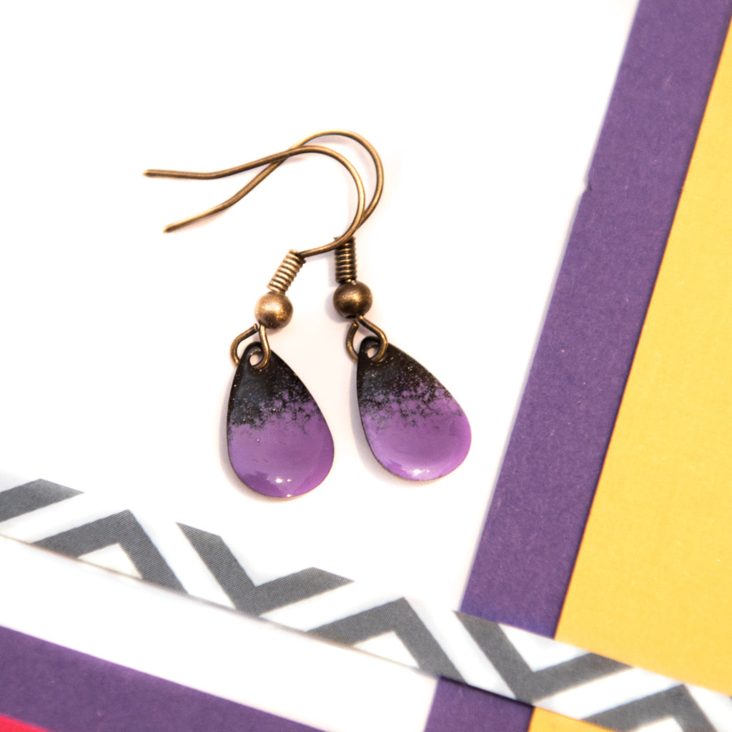 Teardrop Purple and Black Enamel Earrings