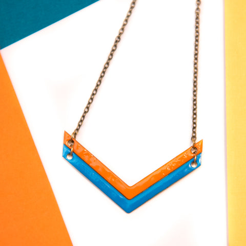 Double Chevron Blue and Orange Necklace