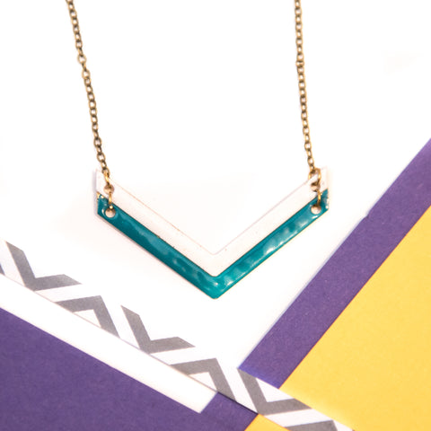 Double Chevron Teal and White Necklace