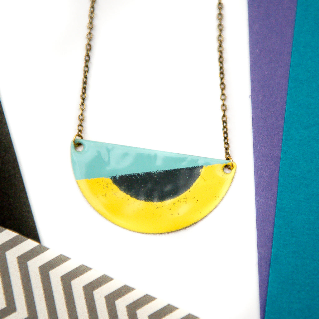 Semi Circle Yellow and Turquoise Necklace