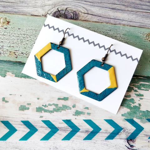 Hexagon Cut-Out Teal and Mustard Enamel Earrings